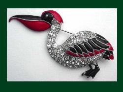 Vintage Enamel & Rhinestone Pelican Pin ($125) :  animal vintage vintage jewelry jewelry