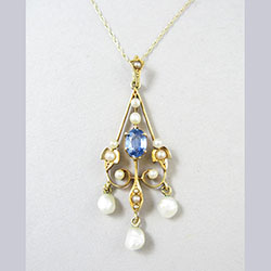 Lovely 14k Gold Sapphire and Pearl Lavaliere Front
