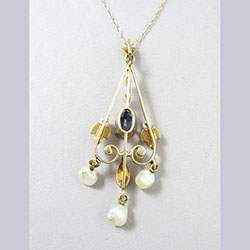 Lovely 14k Gold Sapphire and Pearl Lavaliere Back