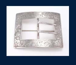 Sterling Buckle Sash Pin Front