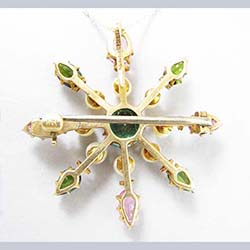 Tourmaline and Pearl 14k Gold Watch Pin/Pendant Back