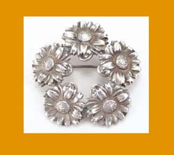 Unger Brothers Sterling Floral Wreath Pin