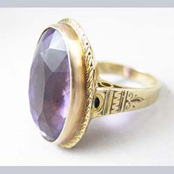 Victorian Amethyst 10k Gold Ring Side