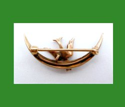 Victorian 10k Gold Bird with Seed Pearls Crescent Pin Back