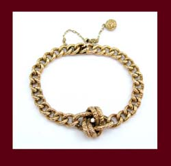 Victorian 14k Gold and Diamond Love Knot Bracelet Front