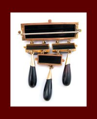 Victorian 14k Gold and Onyx Brooch Back