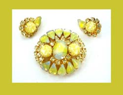 Sunshine Yellow Givre Cabochon and Rhinestone Earrings and Pin