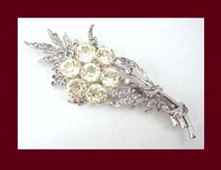 Light Yellow Dentelle Rhinestone Flower Pin